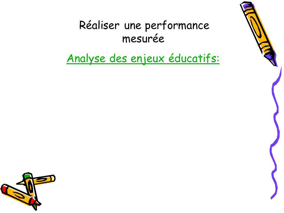 Réaliser une performance mesurée Analyse des enjeux éducatifs: