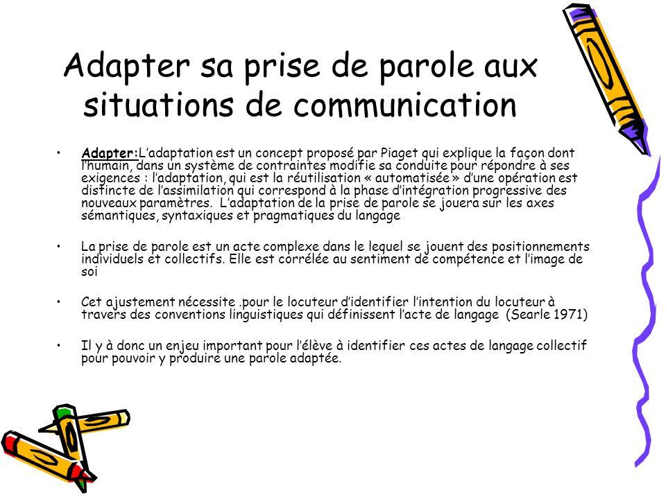 Adapter sa prise de parole aux situations de communication Adapter:Ladaptation est un concept proposé par Piaget qui explique la façon dont lhumain, d