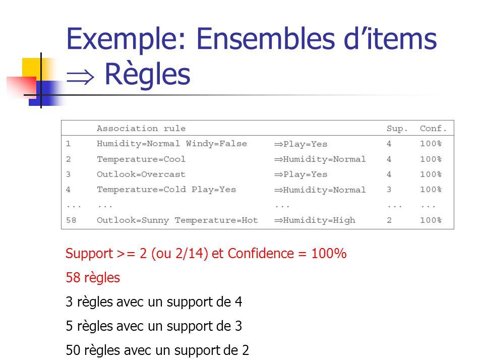 Exemple: Ensembles ditems Règles Support >= 2 (ou 2/14) et Confidence = 100% 58 règles 3 règles avec un support de 4 5 règles avec un support de 3 50