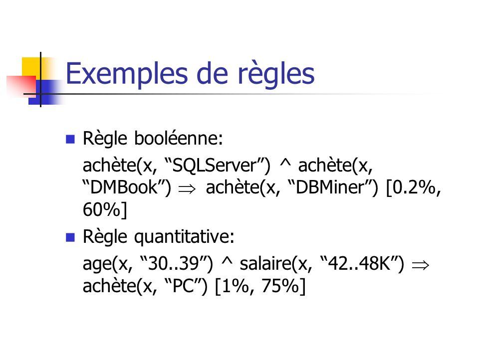 Exemples de règles Règle booléenne: achète(x, SQLServer) ^ achète(x, DMBook) achète(x, DBMiner) [0.2%, 60%] Règle quantitative: age(x, 30..39) ^ salai