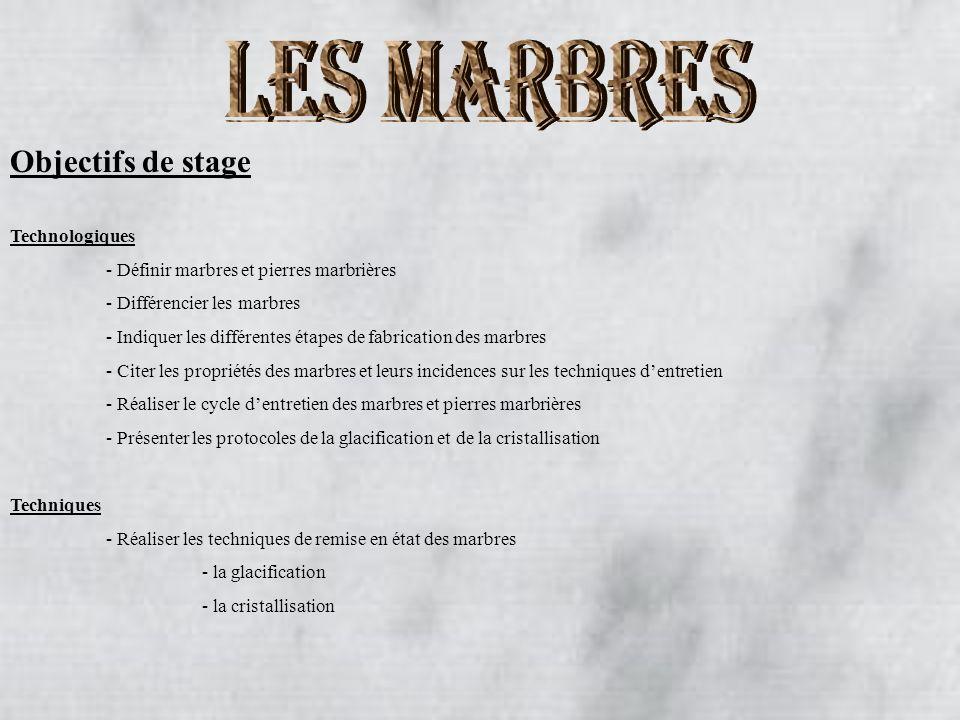 Objectifs de stage Technologiques - Définir marbres et pierres marbrières - Différencier les marbres - Indiquer les différentes étapes de fabrication
