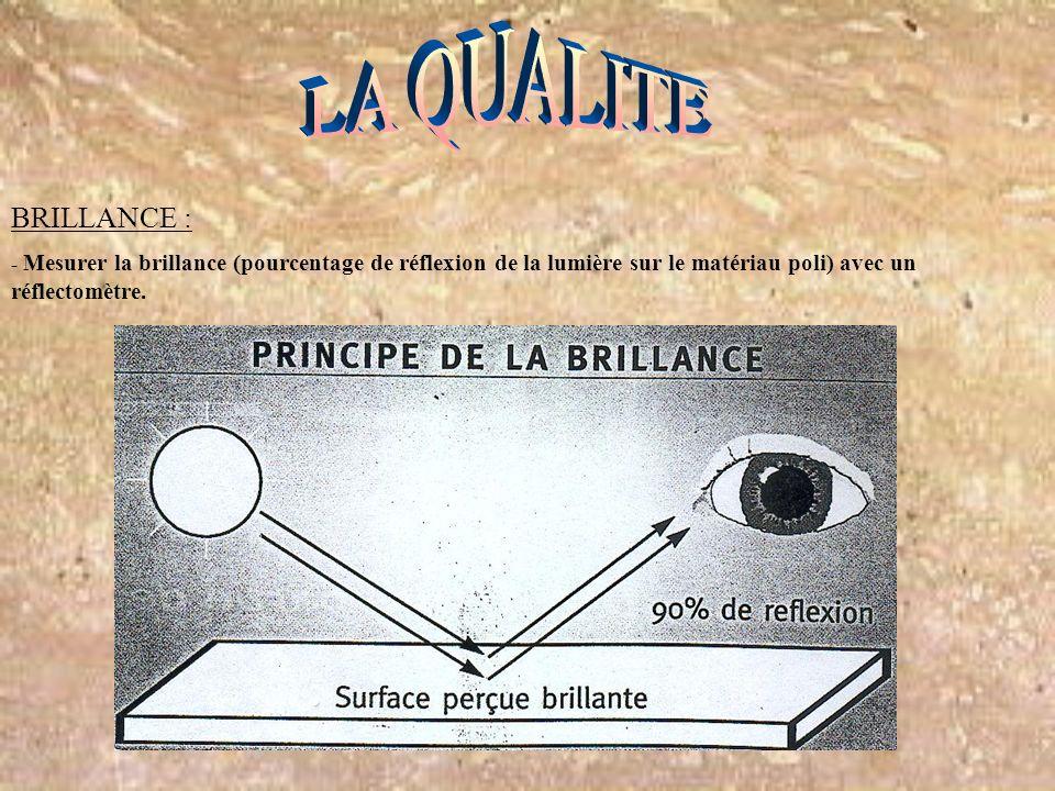 BRILLANCE : - Mesurer la brillance (pourcentage de réflexion de la lumière sur le matériau poli) avec un réflectomètre.