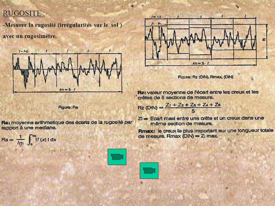 RUGOSITE : -Mesurer la rugosité (irrégularités sur le sol ) avec un rugosimètre.