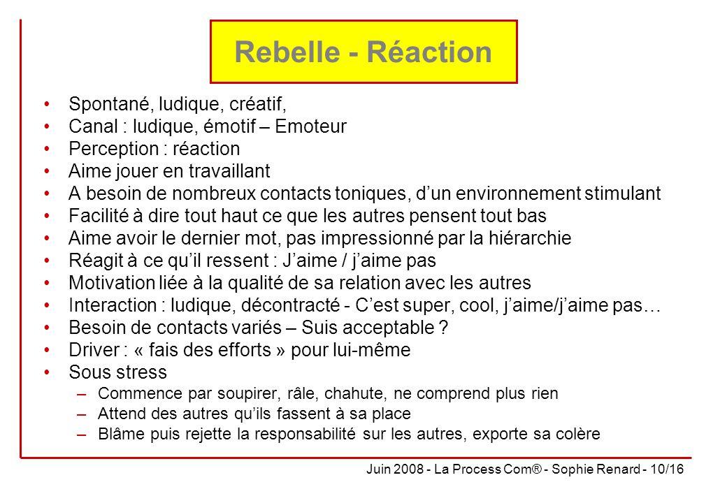 Juin 2008 - La Process Com® - Sophie Renard - 10/16 Rebelle - Réaction Spontané, ludique, créatif, Canal : ludique, émotif – Emoteur Perception : réac