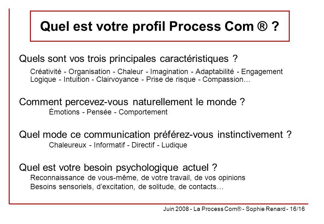 Juin 2008 - La Process Com® - Sophie Renard - 16/16 Quel est votre profil Process Com ® ? Quels sont vos trois principales caractéristiques ? Créativi
