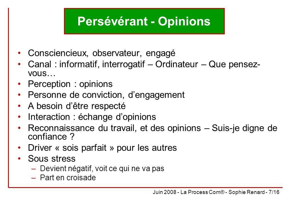 Juin 2008 - La Process Com® - Sophie Renard - 7/16 Persévérant - Opinions Consciencieux, observateur, engagé Canal : informatif, interrogatif – Ordina