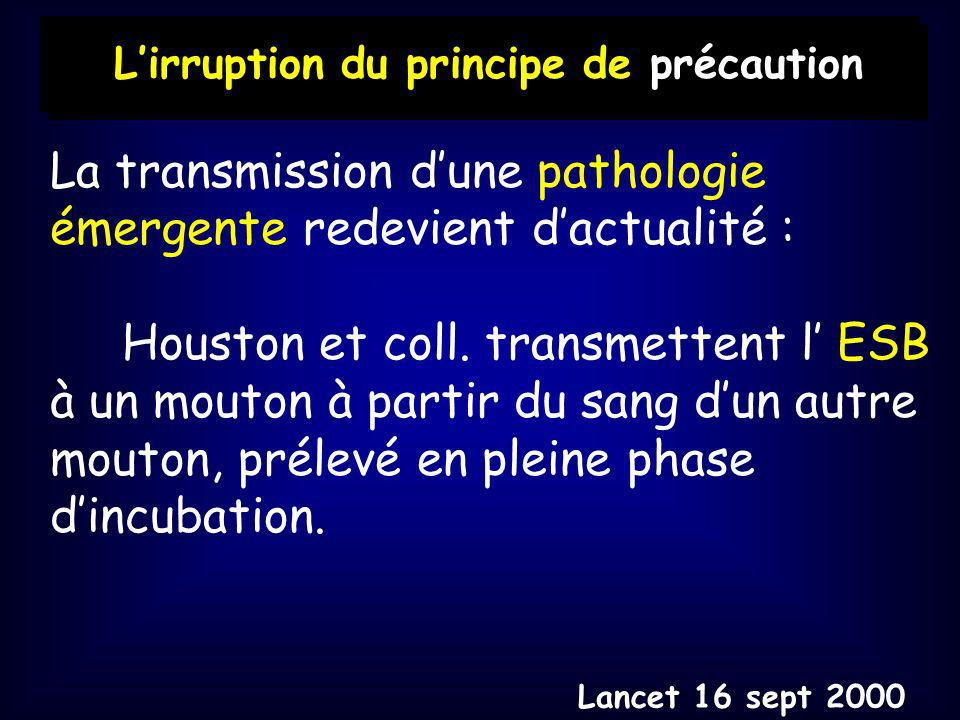 La transmission dune pathologie émergente redevient dactualité : Houston et coll.