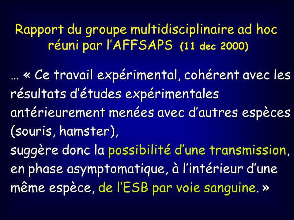 Rapport du groupe multidisciplinaire ad hoc réuni par lAFFSAPS (11 dec 2000) Ce travail expérimental, cohérent avec les résultats détudes expérimentales antérieurement menées avec dautres espèces (souris, hamster), … « Ce travail expérimental, cohérent avec les résultats détudes expérimentales antérieurement menées avec dautres espèces (souris, hamster), suggère donc la possibilité dune transmission, en phase asymptomatique, à lintérieur dune même espèce, de lESB par voie sanguine.