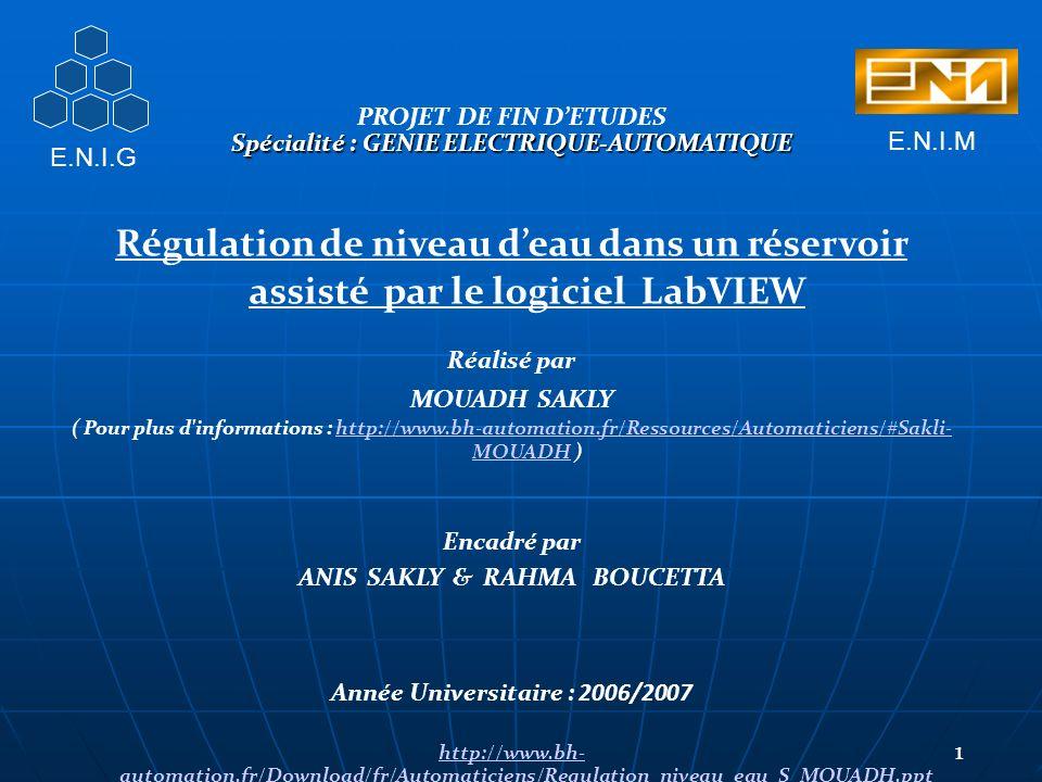 PROJET DE FIN DETUDES Spécialité : GENIE ELECTRIQUE-AUTOMATIQUE Régulation de niveau deau dans un réservoir assisté par le logiciel LabVIEW Réalisé par MOUADH SAKLY ( Pour plus d informations : http://www.bh-automation.fr/Ressources/Automaticiens/#Sakli- MOUADH ) http://www.bh-automation.fr/Ressources/Automaticiens/#Sakli- MOUADH Encadré par ANIS SAKLY & RAHMA BOUCETTA Année Universitaire : 2006/2007 http://www.bh- automation.fr/Download/fr/Automaticiens/Regulation_niveau_eau_S_MOUADH.ppt 1 E.N.I.G E.N.I.M
