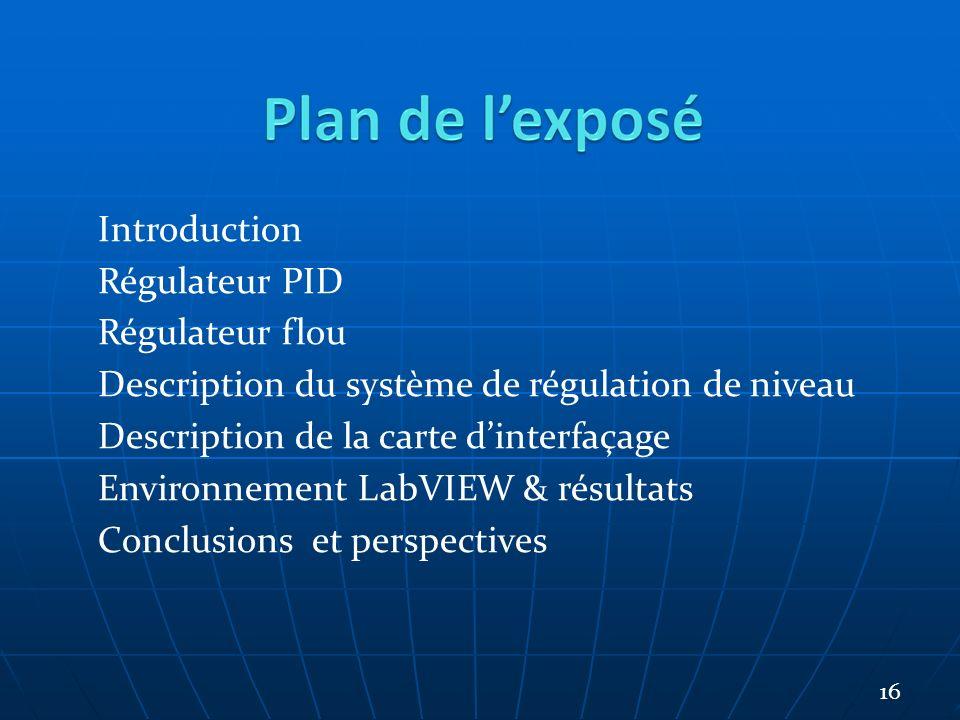 Introduction Régulateur PID Régulateur flou Description du système de régulation de niveau Description de la carte dinterfaçage Environnement LabVIEW & résultats Conclusions et perspectives 16