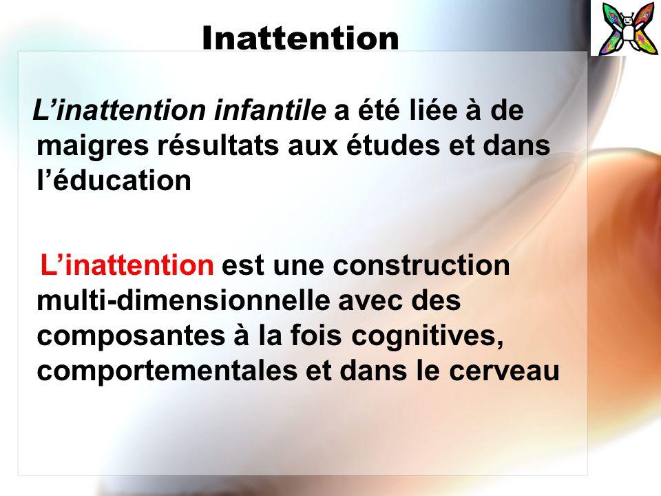 Inattention Linattention infantile a été liée à de maigres résultats aux études et dans léducation Linattention est une construction multi-dimensionne