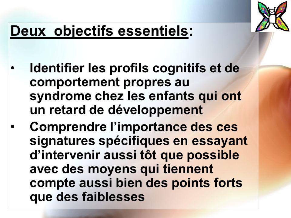 Deux objectifs essentiels: Identifier les profils cognitifs et de comportement propres au syndrome chez les enfants qui ont un retard de développement