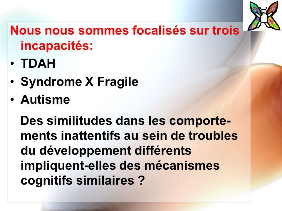 Nous nous sommes focalisés sur trois incapacités: TDAH Syndrome X Fragile Autisme Des similitudes dans les comporte- ments inattentifs au sein de trou