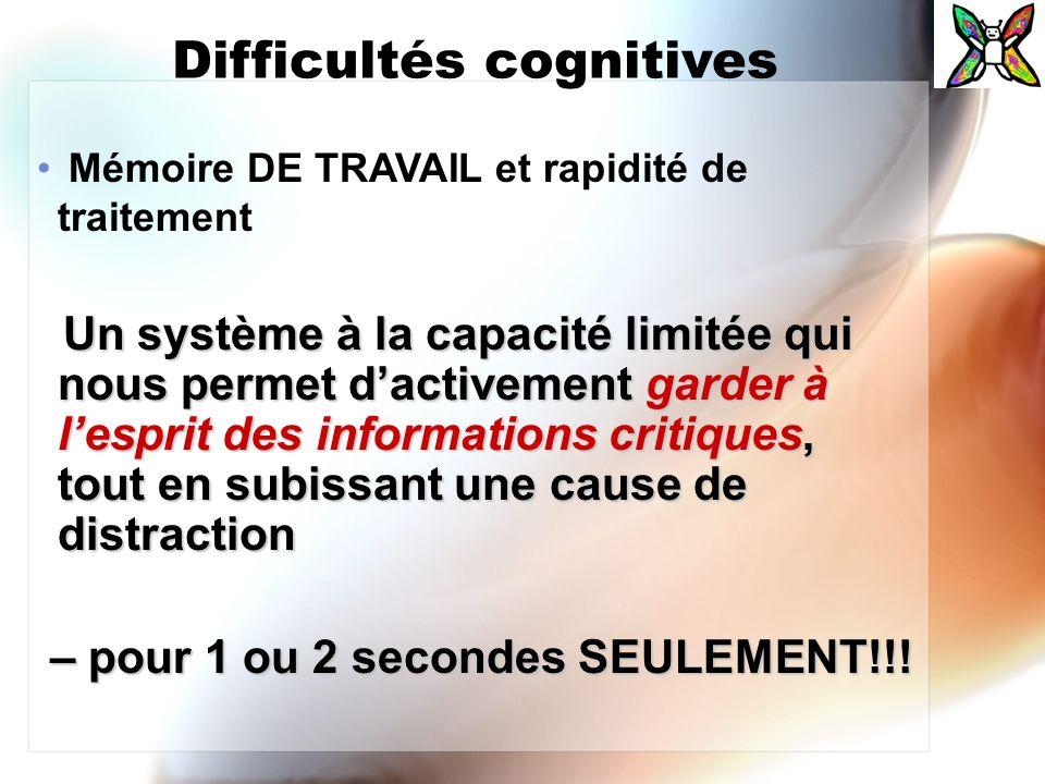 Difficultés cognitives Mémoire DE TRAVAIL et rapidité de traitement Un système à la capacité limitée qui nous permet dactivement garder à lesprit des