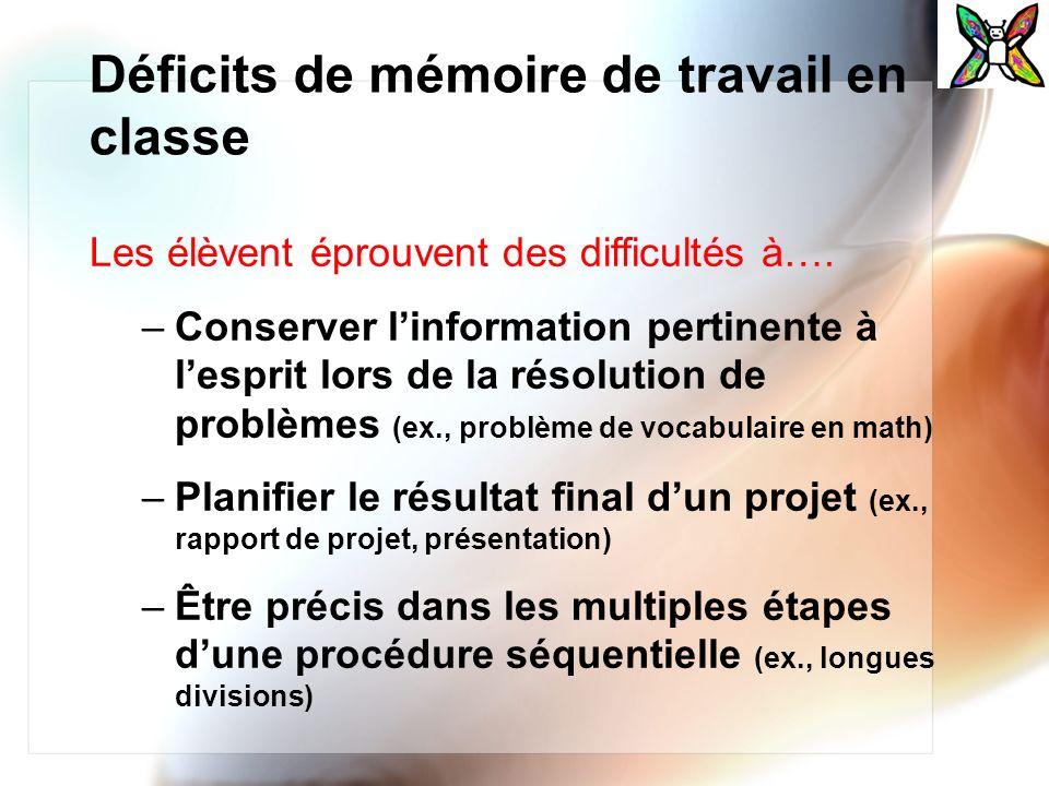 Déficits de mémoire de travail en classe Les élèvent éprouvent des difficultés à…. –Conserver linformation pertinente à lesprit lors de la résolution