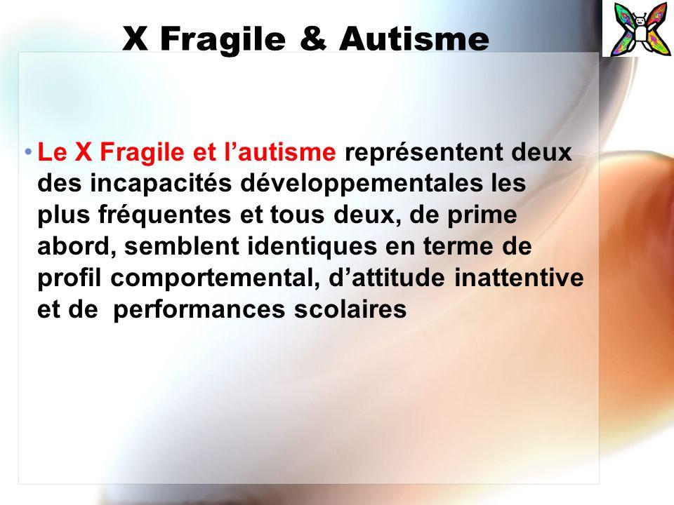 X Fragile & Autisme Le X Fragile et lautisme représentent deux des incapacités développementales les plus fréquentes et tous deux, de prime abord, sem
