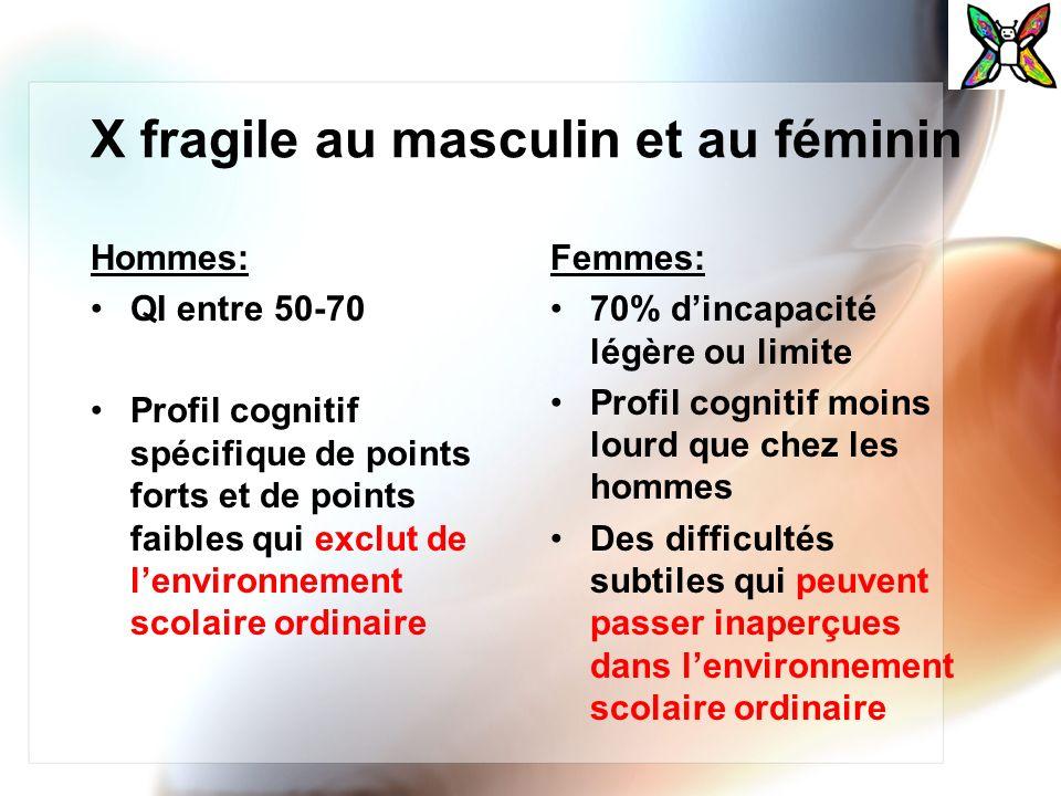X fragile au masculin et au féminin Hommes: QI entre 50-70 Profil cognitif spécifique de points forts et de points faibles qui exclut de lenvironnemen