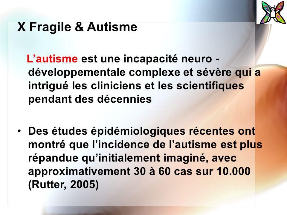 X Fragile & Autisme Lautisme est une incapacité neuro - développementale complexe et sévère qui a intrigué les cliniciens et les scientifiques pendant