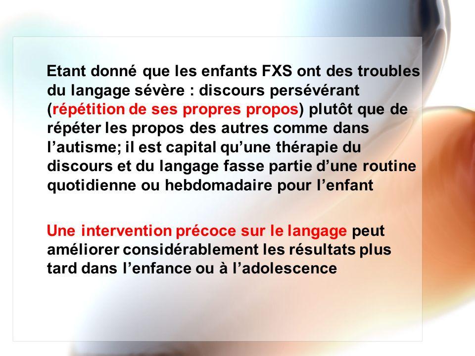 Etant donné que les enfants FXS ont des troubles du langage sévère : discours persévérant (répétition de ses propres propos) plutôt que de répéter les