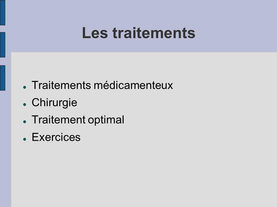 Les traitements Traitements médicamenteux Chirurgie Traitement optimal Exercices