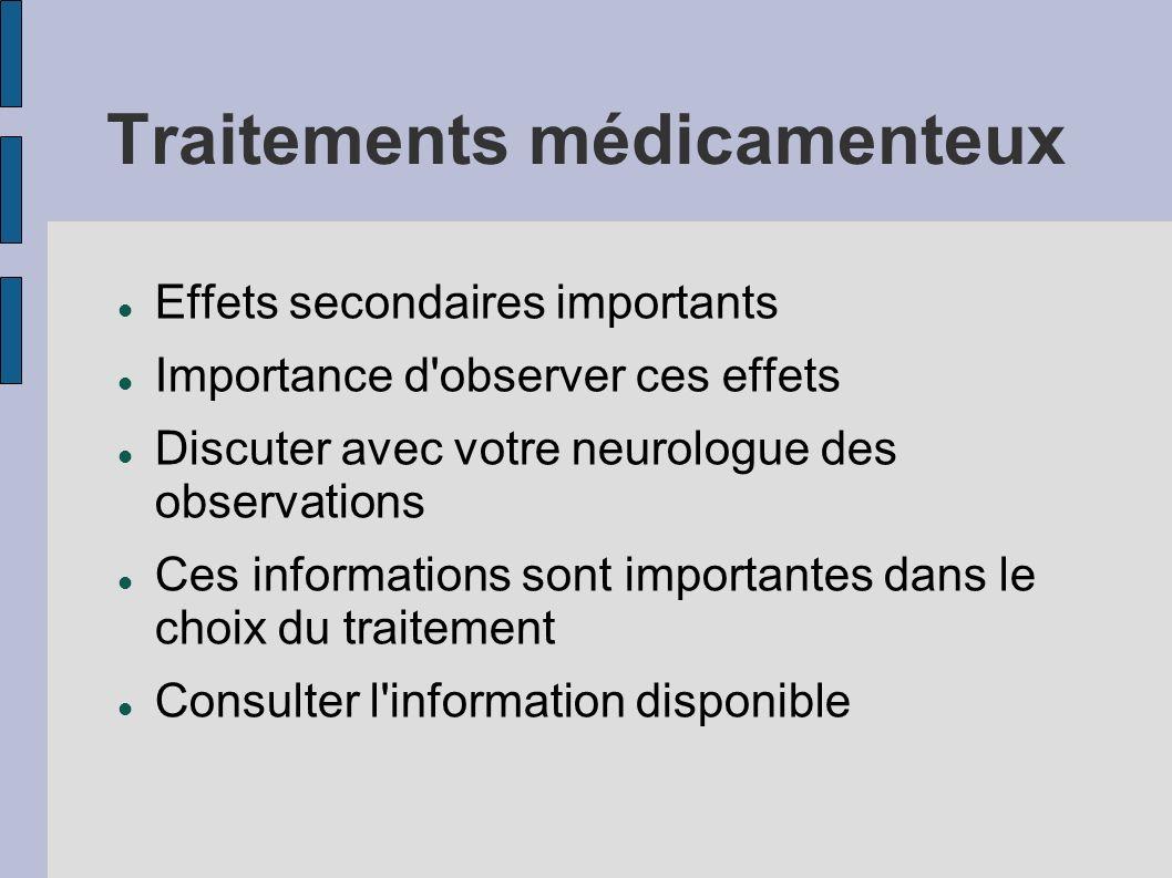 Traitements médicamenteux Effets secondaires importants Importance d'observer ces effets Discuter avec votre neurologue des observations Ces informati