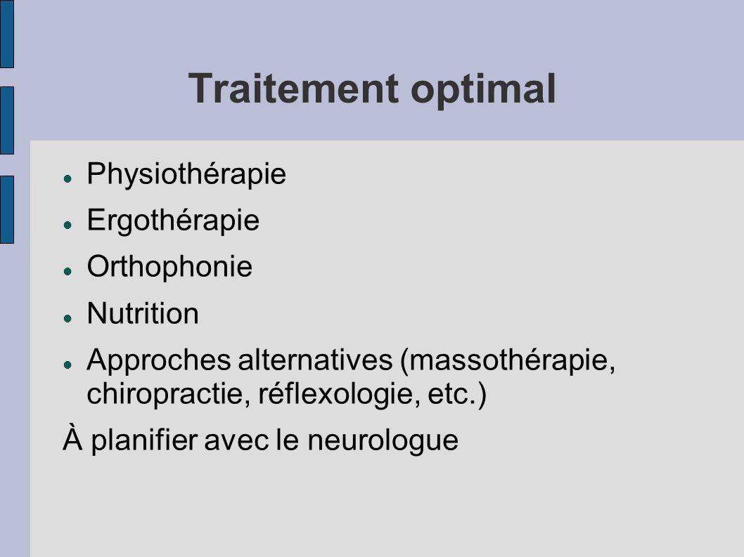 Traitement optimal Physiothérapie Ergothérapie Orthophonie Nutrition Approches alternatives (massothérapie, chiropractie, réflexologie, etc.) À planif
