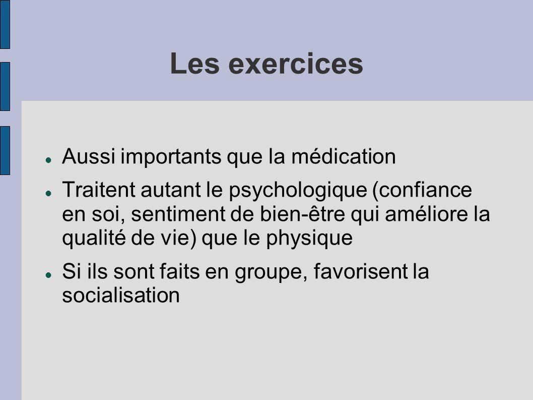 Les exercices Aussi importants que la médication Traitent autant le psychologique (confiance en soi, sentiment de bien-être qui améliore la qualité de