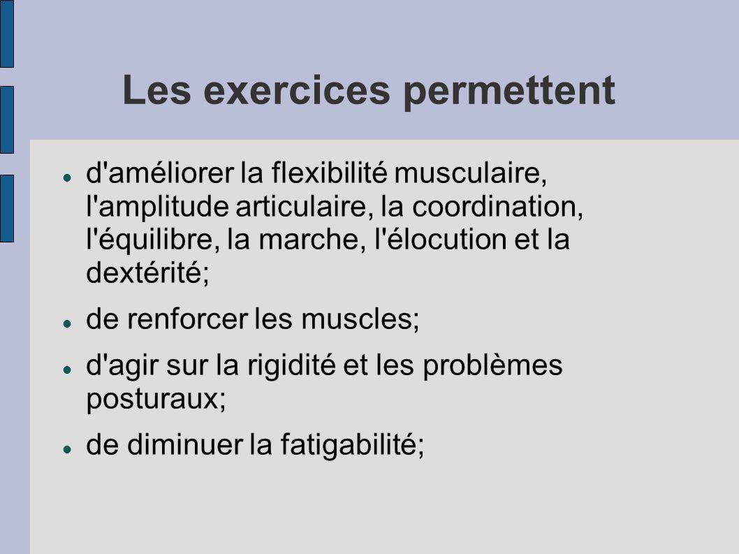 Les exercices permettent d'améliorer la flexibilité musculaire, l'amplitude articulaire, la coordination, l'équilibre, la marche, l'élocution et la de