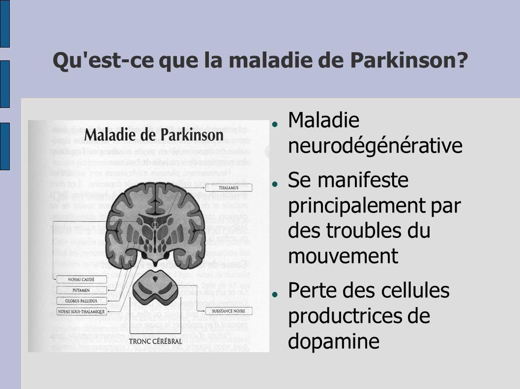 Qu'est-ce que la maladie de Parkinson? Maladie neurodégénérative Se manifeste principalement par des troubles du mouvement Perte des cellules productr