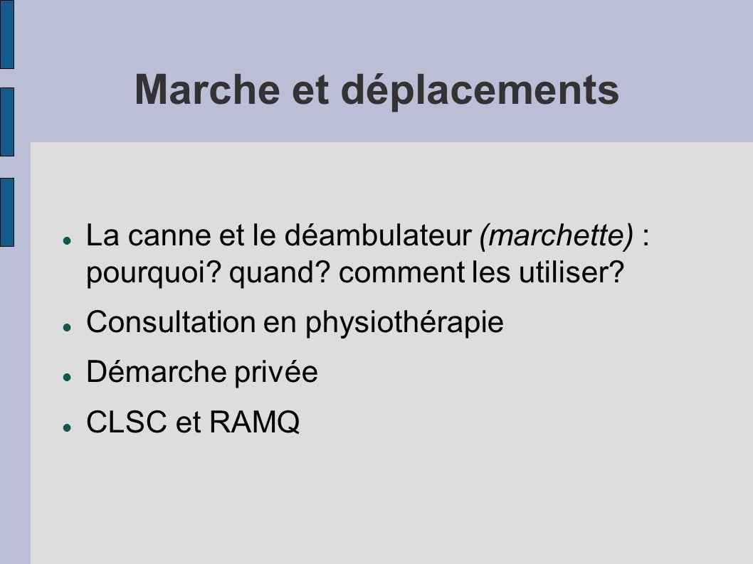 Marche et déplacements La canne et le déambulateur (marchette) : pourquoi? quand? comment les utiliser? Consultation en physiothérapie Démarche privée