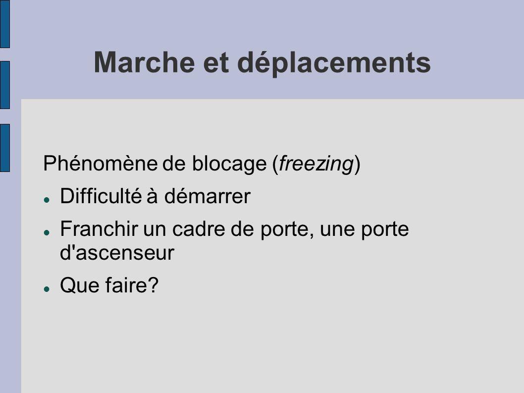 Marche et déplacements Phénomène de blocage (freezing) Difficulté à démarrer Franchir un cadre de porte, une porte d'ascenseur Que faire?