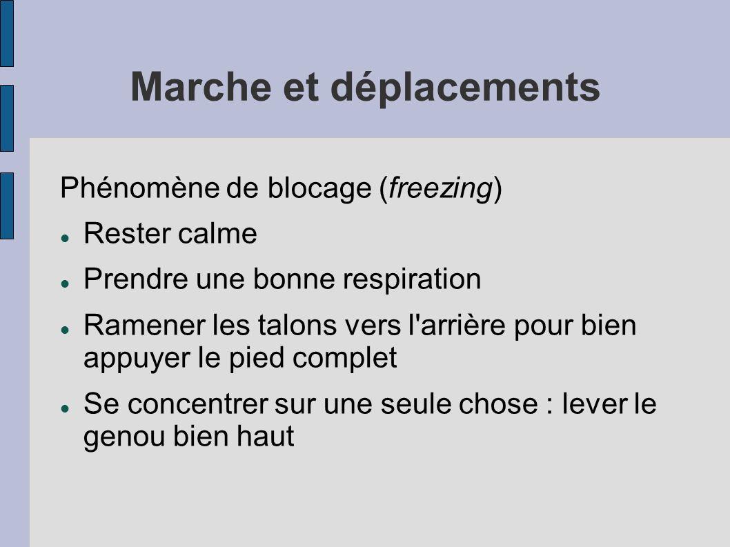 Marche et déplacements Phénomène de blocage (freezing) Rester calme Prendre une bonne respiration Ramener les talons vers l'arrière pour bien appuyer
