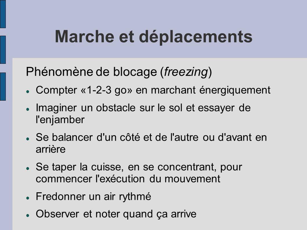 Marche et déplacements Phénomène de blocage (freezing) Compter «1-2-3 go» en marchant énergiquement Imaginer un obstacle sur le sol et essayer de l'en