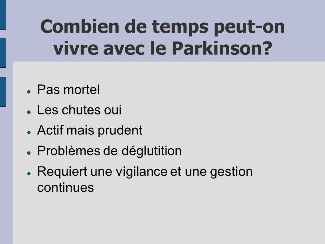 Combien de temps peut-on vivre avec le Parkinson? Pas mortel Les chutes oui Actif mais prudent Problèmes de déglutition Requiert une vigilance et une