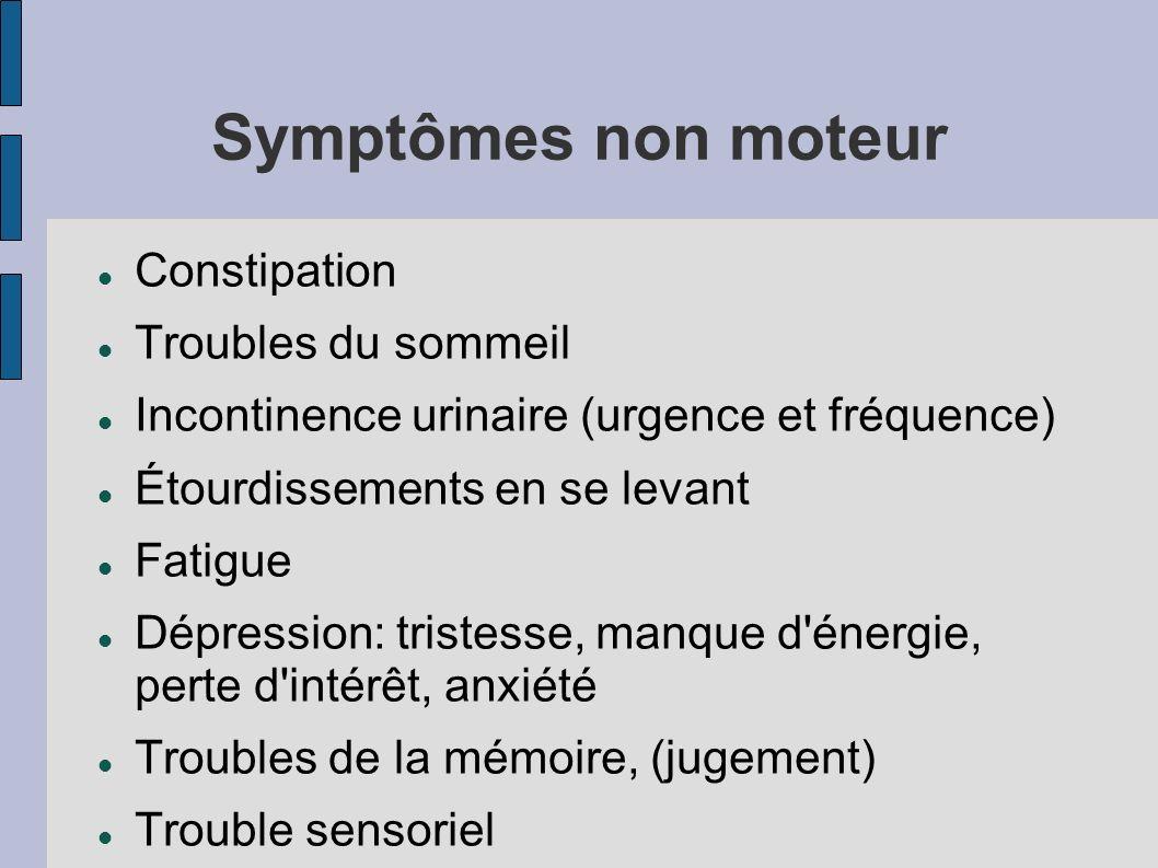 Symptômes non moteur Constipation Troubles du sommeil Incontinence urinaire (urgence et fréquence) Étourdissements en se levant Fatigue Dépression: tr