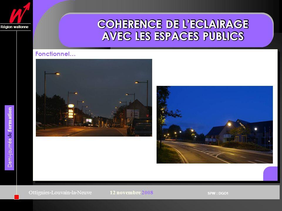 SPW : DGO1 Région wallonne Demi-journée de formation Ottignies-Louvain-la-Neuve12 novembre 2008 COHERENCE DE LECLAIRAGE AVEC LES ESPACES PUBLICS Fonct