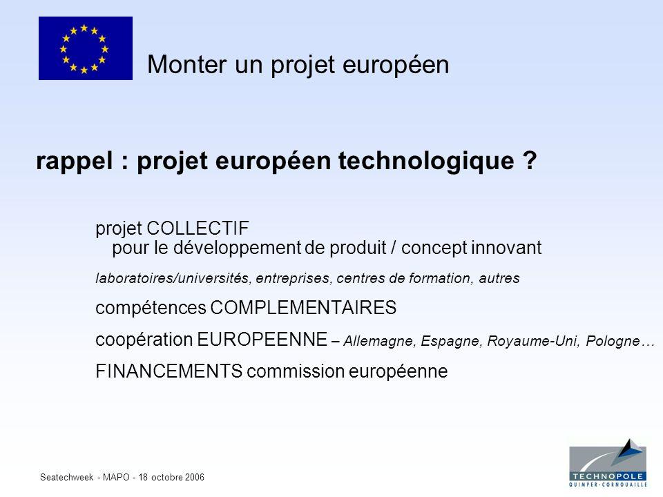Seatechweek - MAPO - 18 octobre 2006 rappel : projet européen technologique ? projet COLLECTIF pour le développement de produit / concept innovant lab
