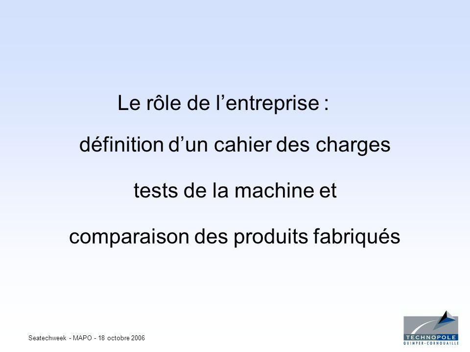 Seatechweek - MAPO - 18 octobre 2006 Le rôle de lentreprise : définition dun cahier des charges tests de la machine et comparaison des produits fabriq