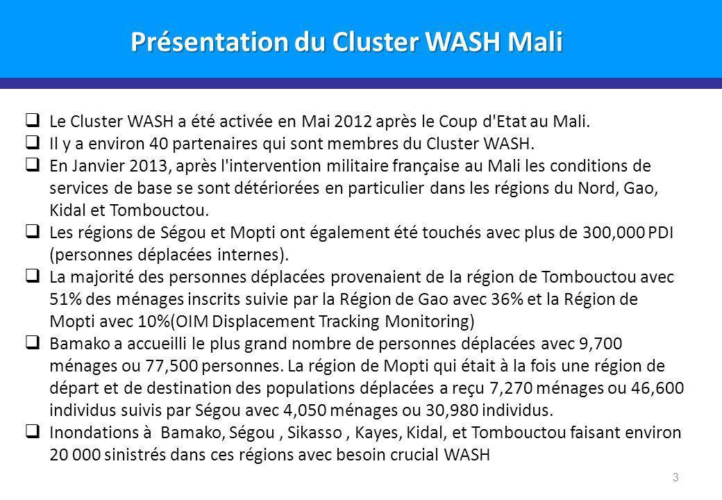 3 Le Cluster WASH a été activée en Mai 2012 après le Coup d Etat au Mali.