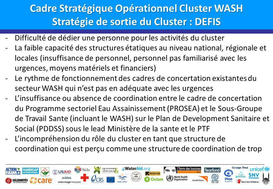 Groupe Pivot ADDA Cadre Stratégique Opérationnel Cluster WASH Stratégie de sortie du Cluster : OPPORTUNITES Une implication de plus en plus forte des structures gouvernementales tant au niveau national que régional (DGPC, DNH, DNACPN; Lexistence des cadres de concertation pour le secteur Eau Assainissement/ PROSEA et du Sous-groupe de Travail Sante (incluant WASH), qui sont complémentaires pour le WASH/Urgence La volonté des autorités et services techniques de lEtat au niveau régionale de simpliquer davantage dans la coordination (Groupe sectoriel a Gao, Tombouctou) qui ont auront pour Lead les services étatiques; La présence de certaines ONGs clé très actives dans le WASH en urgence avec une expériences Le retour progressif des services techniques étatiques; La capacite du cluster a renforcer la capacite des services techniques et coordination et gestion de linformations;