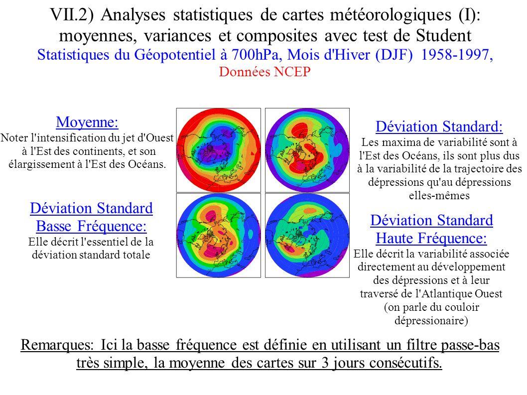 VII.2) Analyses statistiques de cartes météorologiques (I): moyennes, variances et composites avec test de Student Statistiques du Géopotentiel à 700h