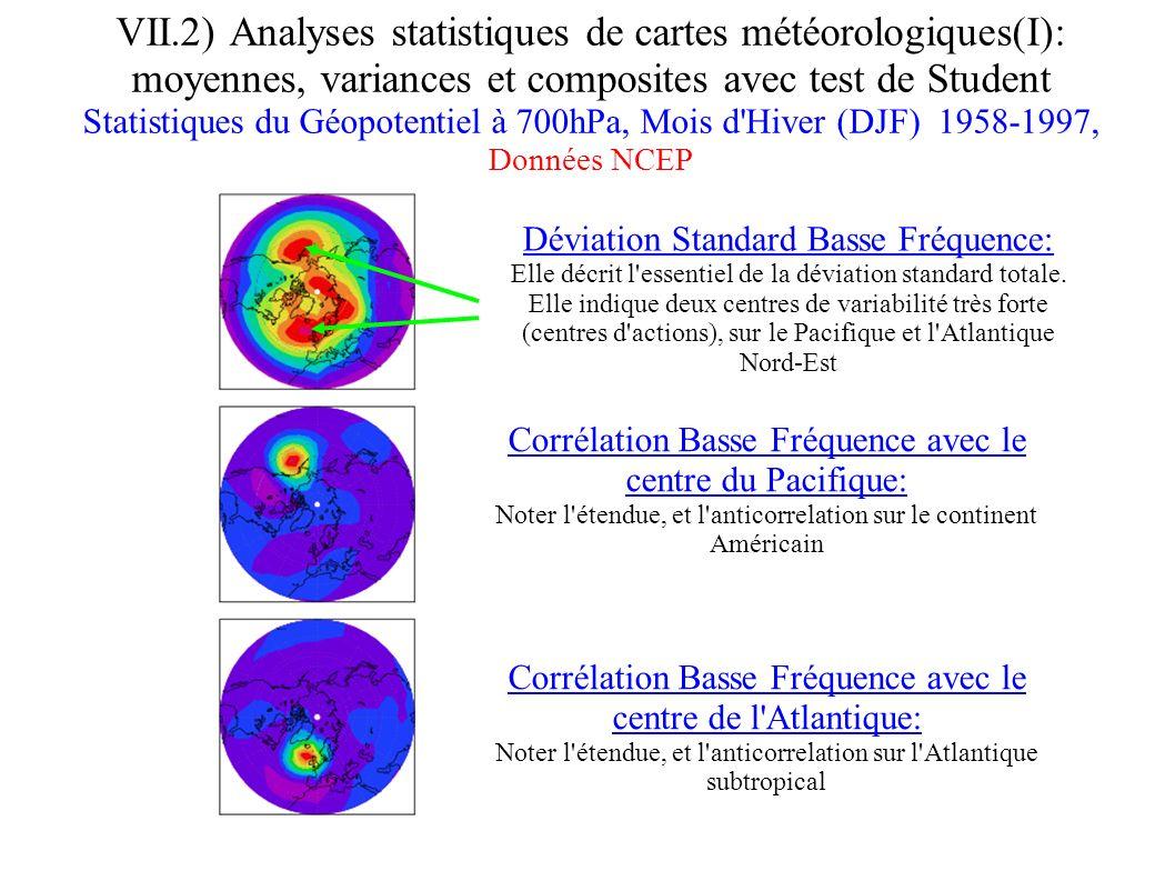 VII.2) Analyses statistiques de cartes météorologiques(I): moyennes, variances et composites avec test de Student Statistiques du Géopotentiel à 700hP