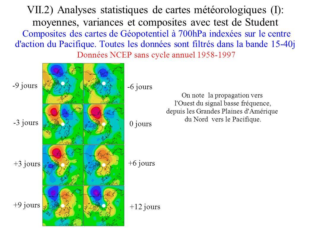 VII.2) Analyses statistiques de cartes météorologiques (I): moyennes, variances et composites avec test de Student Composites des cartes de Géopotenti