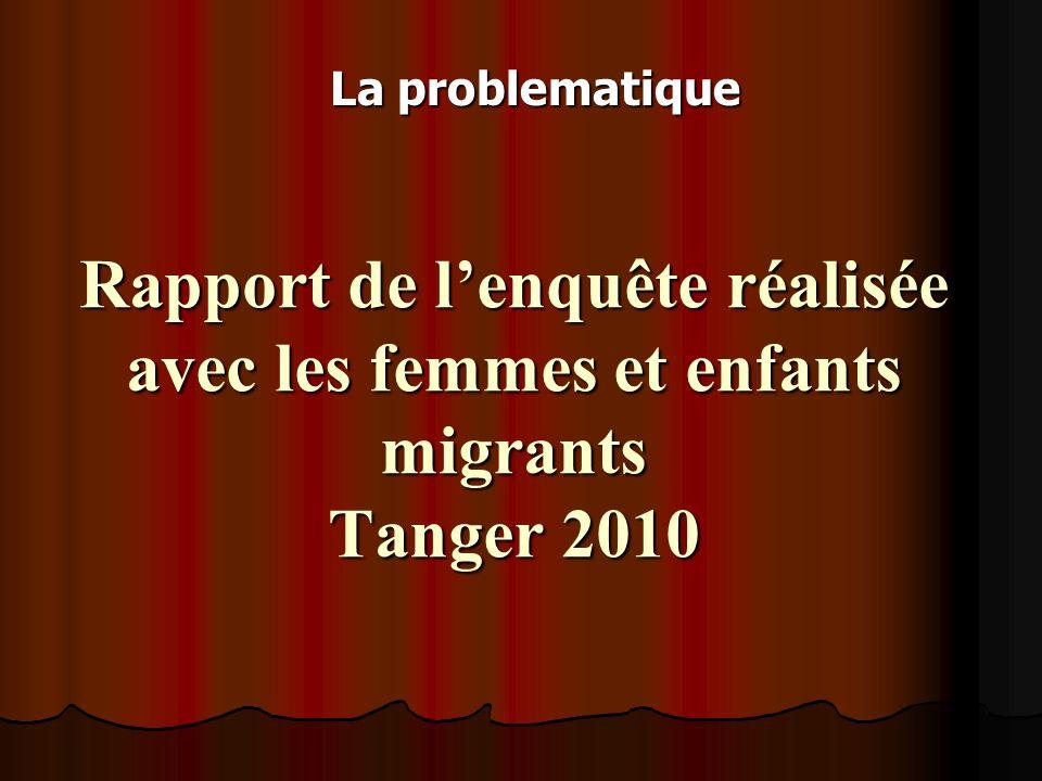 Rapport de lenquête réalisée avec les femmes et enfants migrants Tanger 2010 La problematique