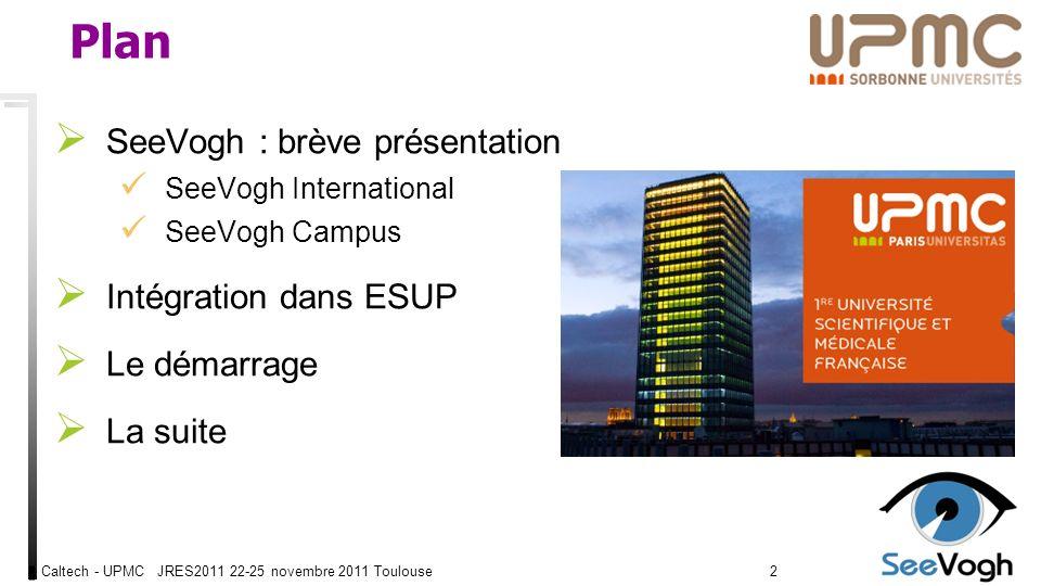 Caltech - UPMC JRES2011 22-25 novembre 2011 Toulouse4343 Merci Financement Ville de Paris UNR Paris Idf MINES