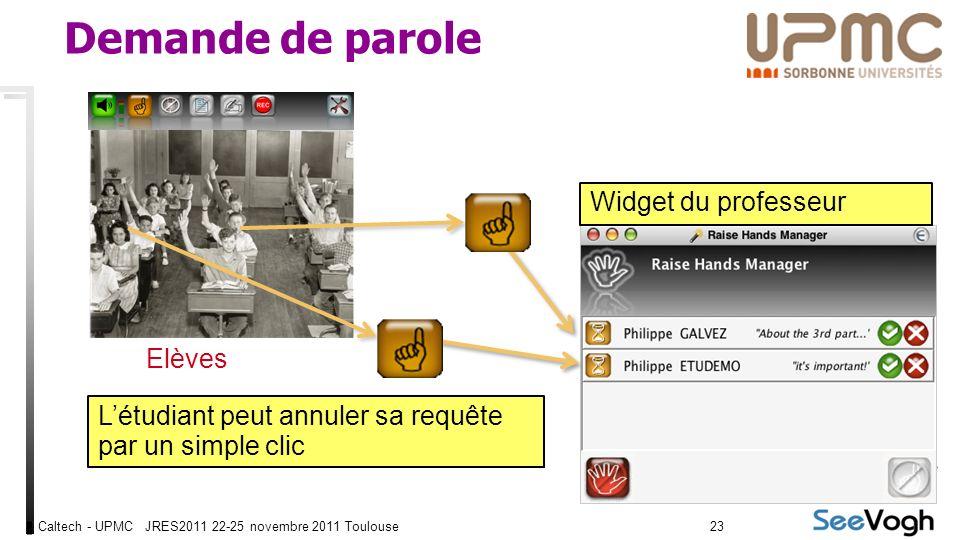 Caltech - UPMC JRES2011 22-25 novembre 2011 Toulouse2323 Demande de parole Elèves Widget du professeur Létudiant peut annuler sa requête par un simple clic