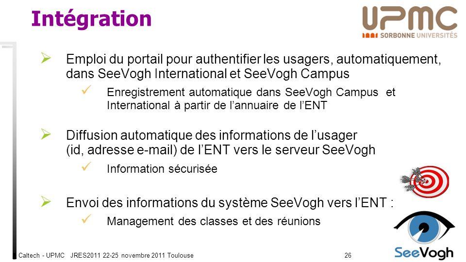Caltech - UPMC JRES2011 22-25 novembre 2011 Toulouse2626 Intégration Emploi du portail pour authentifier les usagers, automatiquement, dans SeeVogh International et SeeVogh Campus Enregistrement automatique dans SeeVogh Campus et International à partir de lannuaire de lENT Diffusion automatique des informations de lusager (id, adresse e-mail) de lENT vers le serveur SeeVogh Information sécurisée Envoi des informations du système SeeVogh vers lENT : Management des classes et des réunions