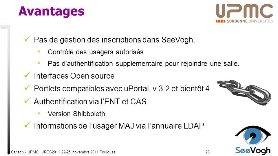 Caltech - UPMC JRES2011 22-25 novembre 2011 Toulouse2828 Avantages Pas de gestion des inscriptions dans SeeVogh.