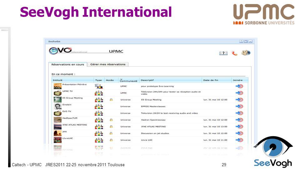 Caltech - UPMC JRES2011 22-25 novembre 2011 Toulouse2929 SeeVogh International