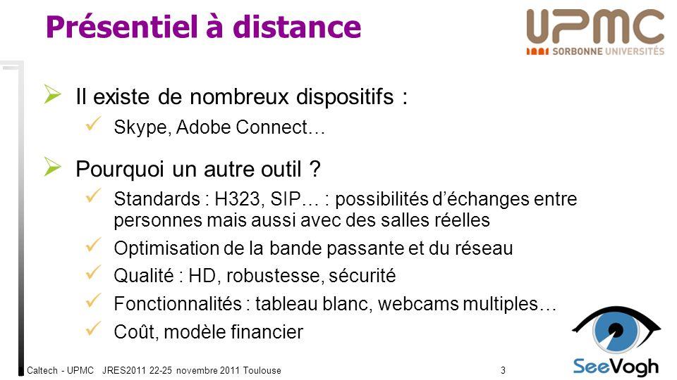 Caltech - UPMC JRES2011 22-25 novembre 2011 Toulouse33 Présentiel à distance Il existe de nombreux dispositifs : Skype, Adobe Connect… Pourquoi un autre outil .
